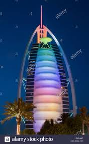 night view of the burj al arab tower of the arabs luxury hotel