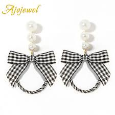 earrings for school ajojewel big simulated pearl bow ribbon earrings high school style