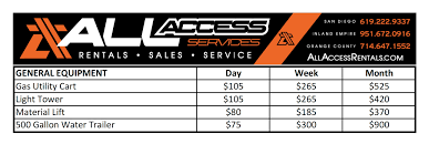 all access services equipment rentals boom lift rentals