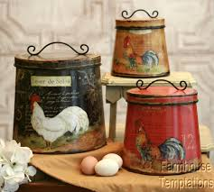 Tuscan Kitchen Canisters by Cottage Rooster Canister Set Shabby French Country Chic Tin Tuscan
