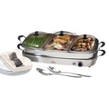 Elite Platinum Stainless Steel Buffet Server by Nutrichef Food Warmer Buffet Server Warming Tray Plate 3 Pot