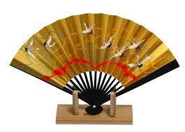 japanese fan kyoto gold sensu japanese held fan turu crane bird motif made