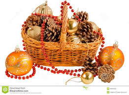 new year basket with pine cones and christmas decorations stock