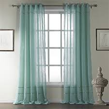 Sheer Teal Curtains One Pair Classic Cotton Stripe Sheer Curtain Usd 39 99
