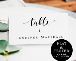 Table Card Template by Table Card Template Etsy