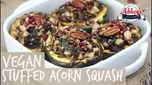 vegan stuffed acorn squash with rice apples caramelized