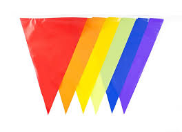 Banners Flags Pennants Amazon Com 30ft Multi Color Flags Banner Rainbow Bunting Party