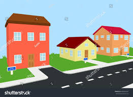 three houses three houses sale neighborhood 3d illustration stock illustration