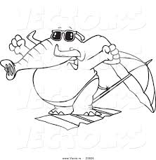 vector of a cartoon beach elephant stretching coloring page