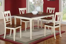 Cherry Wood Dining Room Furniture Poundex Piece Dining Table Set In Creamcherry Finish 2 1 Cherry