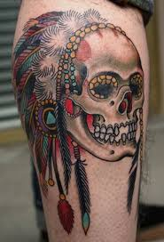 colored indian skull on arm tattoos