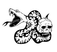 tribal snake and skull modern stock illustration