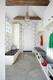 modern storage bench entry transitional with stone floor white