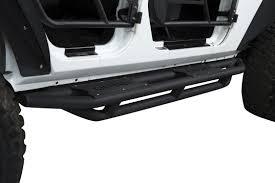white jeep wrangler 4 door black rims us armor textured black side step nerf bar for 07 17 jeep wrangler