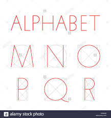 vector geometric font construction of letters alphabet red