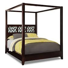 Bedroom Furniture Canopy Bed Bedroom Brown Lacquer Mahogany Wood Canopy Bed Frame With