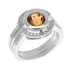 citrine engagement rings sevilla silver diamond accented citrine 3 ring set
