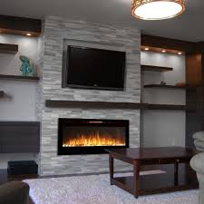 utley white faux stone widescreen electric fireplace electric with