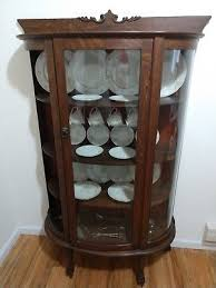 antique curio cabinet with curved glass 1900 1950 cabinets cupboards furniture antiques picclick