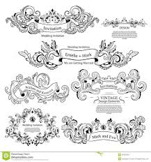 wedding invitation ornament vector lovely set of vintage