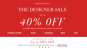 at saks get up to 60 until noon at the thanksgiving sale and