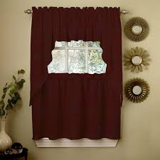 Curtains Plum Color by Kitchen Wine Opaque Solid Ribcord Kitchen Curtain With Tier