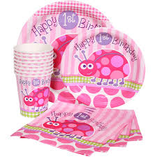 1st birthday party supplies ladybug 1st birthday pink party supplies package for 8 at dollar