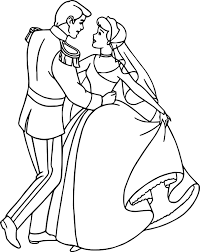 cinderella and prince charming dance coloring pages wecoloringpage