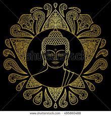 buddha hand tattoo hand drawn gold buddha head lotus stock vector 495860488
