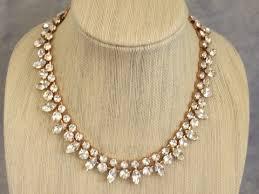 rose tone necklace images Clear swarovski crystal rose gold princess length necklace set jpg