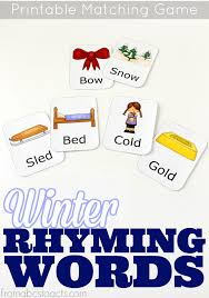 printable rhyming words printable winter rhyming match up from abcs to acts