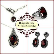 swarovski earring necklace set images Burgundy swarovski jewelry set earrings necklace ring aranwen 39 s jpg