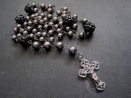 rosary bead necklace jewelry images Rosary bead black fireball pearl necklace vamps jewelry gothic jpg