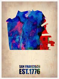 san francisco map painting san francisco watercolor map painting by naxart studio