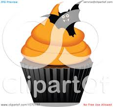 clipart 3d halloween cupcake with a bat royalty free vector