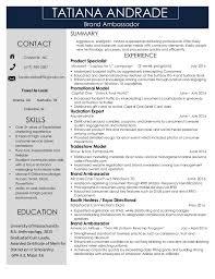 Marketing Resumes Tatiana Andrade Experiential Marketing Resume 2016