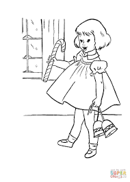 little with candy and christmas bells coloring page free