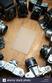 Schreibtisch Aus Holz Alten Retro Analogkameras Filmsammlung Auf Vintage Schreibtisch
