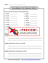 round to nearest dollar from superteacher worksheets fill online