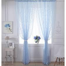 Blue Sheer Curtain Classic Blue Lace Curtain Decorative Sheer Curtain