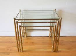 Heywood Wakefield Bamboo by Brass Faux Bamboo Nesting Tables 2 Picked Vintage