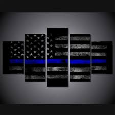 Thin Blue Line Flag 5 Panels Canvas Print Wall Art Picture Poster Usa Thin Blue Line