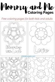mommy and me coloring pages heart flowers for valentines day and
