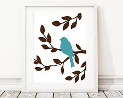 Nursery Bird Decor Modern Nursery Bird Trio Print Nature Decor Pink Brown Wall