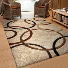 5 X 8 Area Rugs by Carolina Weavers Riveting Shag Collection Rotating Rings Beige