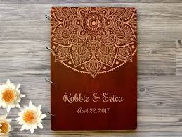 wedding guestbook personalised wooden wedding guest book mandala wedding guest