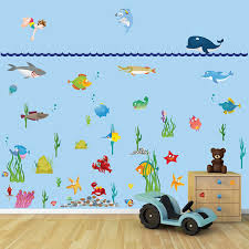 large underwater sea world full colour wall stickers for kids large underwater sea world full colour wall stickers for kids child children boys girls bedrooms amazon co uk kitchen home