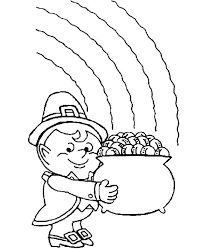 a fatty leprechaun with his pot of gold coloring page download
