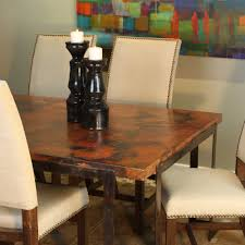 steel strap rectangle dining table with rectangle hammered zinc top