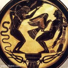 Greek Black Figure Vase Painting Titans Atlas U0026 Prometheus Ancient Greek Vase Painting